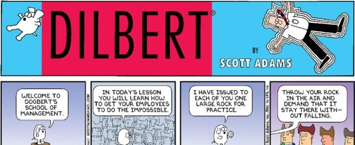 """Dilbert"" comics by Scott Adams"
